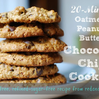 20-Minute Oatmeal Peanut-Butter Chocolate-Chip Cookies (NO gluten or refined sugars!)