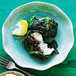 Grilled Halibut, Lettuce, and Tapenade Bundles