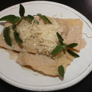 Veal Ravioli with Walnut Sauce.