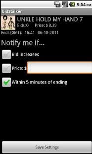 bidStalker for eBay screenshot