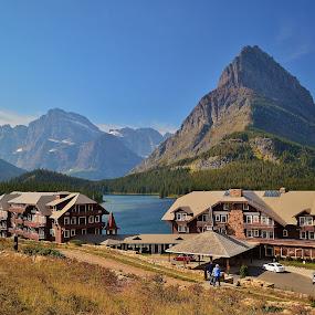 Many Glaciers Lodge by Don Evjen - Buildings & Architecture Public & Historical ( mountains, glacier park, montana, snow, lake, chalets, lodges )