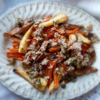 Roasted Parsnips and Carrots with a Walnut Sauce Recipe