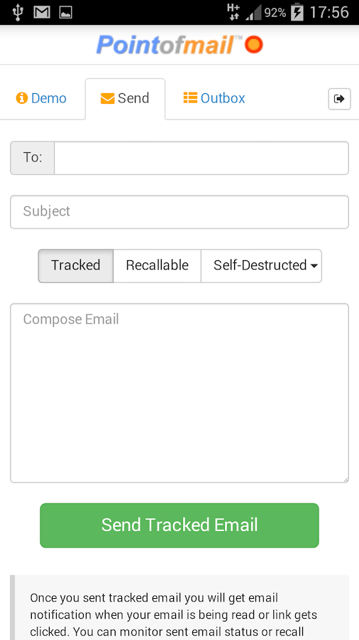 Pointofmail Email Tracking- screenshot
