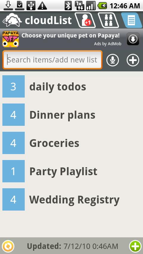 cloudList - grocery/to-do list - screenshot