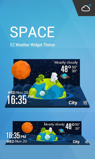 星際穿梭主題時鐘天氣小工具﹣輕鬆天氣,最贊的天氣小工具!