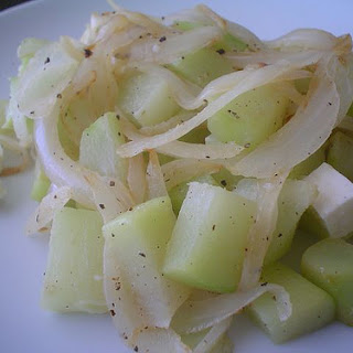 Chayote Squash with Onions and Panela Cheese.
