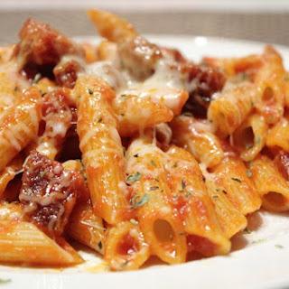 Pasta and Chorizo au Gratin.