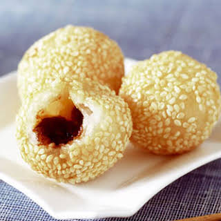 Sesame Balls with Drunken Fig Filling.