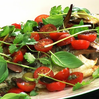 Sea Bream with Cherry Tomatoes, Lemon, Capers and Olives