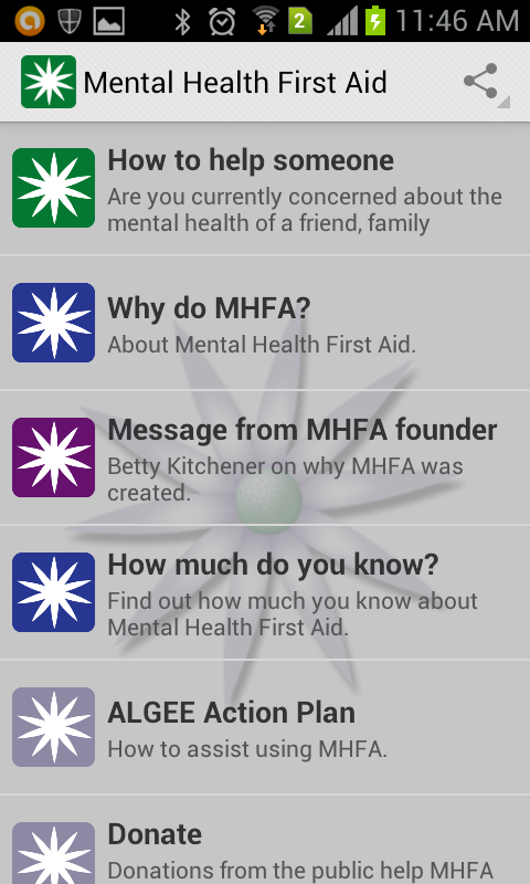 Mental Health First Aid (MHFA)- screenshot