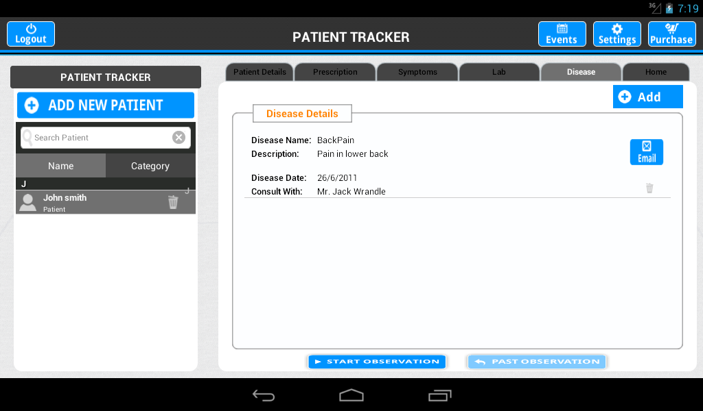 Patient Tracker - screenshot