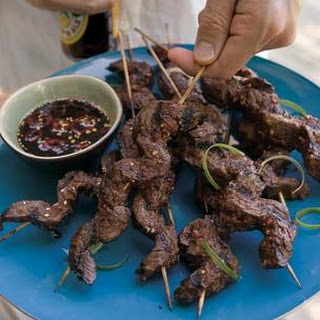 Beef Satay with Ginger Dipping Sauce.