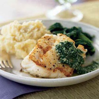 Pan-Seared Cod with Basil Sauce.