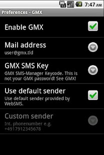 WebSMS: GMX Connector - screenshot thumbnail