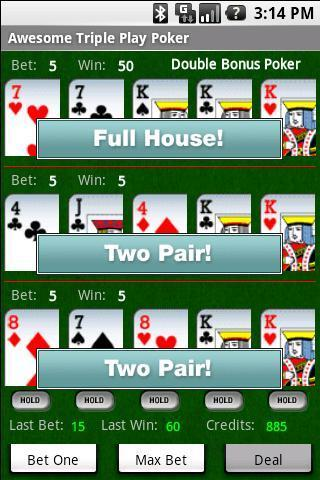 Awesome Triple Video Poker Pro - screenshot