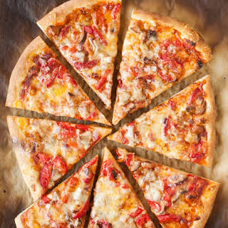 Pizza with Roasted Red Peppers, Sausage & Jack Cheese.