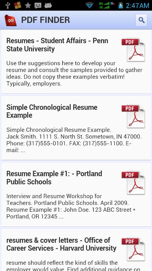 pdf finder screenshot - Resume Finder