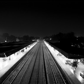 i am junction by Shashank Sharma - Black & White Buildings & Architecture ( platform, junction, b&w, track, bridge )