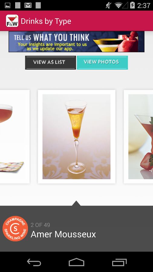 FOOD & WINE Cocktails - screenshot