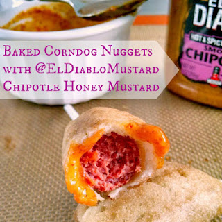 Baked Corndog Nuggets with @ElDiabloMustard Honey Mustard