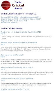 India Cricket Scores - screenshot thumbnail