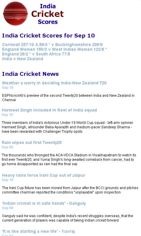 India Cricket Scores - screenshot