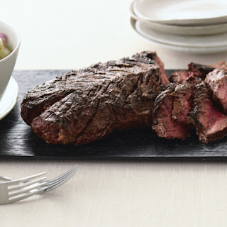 Grilled Lime-Curry-Rubbed Hanger Steak with Fresh Melon-Cucumber Chutney Recipe