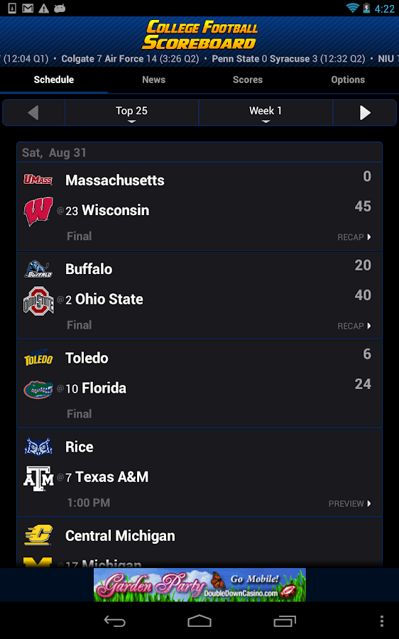 college scores football cbs ncaaf scores