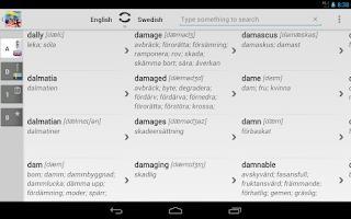 Screenshot of Free Dict Swedish English