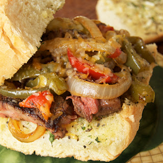 Philly Cheesesteak Sandwich on Garlic Bread