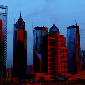 almost overnight by Dolors Bas Vall - Landscapes Sunsets & Sunrises ( red, skyscraper, blue, night, shanghai, city )
