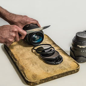 How to chop a lens - Expressions Series - #1 by Zubair Aslam - Artistic Objects Still Life ( cutting lens, lens chopping, chopping, chop a lens, cutting board,  )