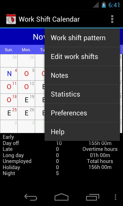 Work Shift Calendar - screenshot
