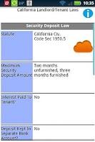 Screenshot of Landlord Tenant Laws Free