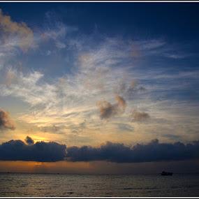 Sunrise by Manabendra Ghosh - Landscapes Cloud Formations ( water, cloud, sea, ocean, sunrise, rameswaram )