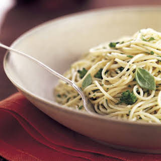 Angel Hair Pasta with Broccoli and Herb Butter.