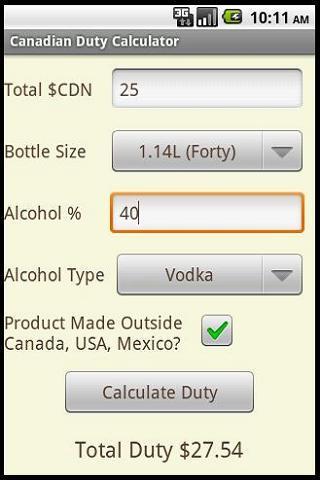 Canadian Duty Calculator- screenshot