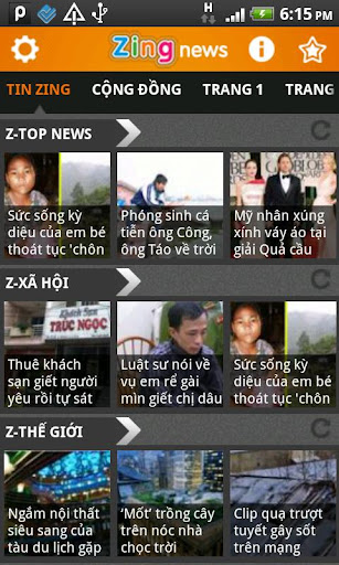 Screenshot #1 of Zing News / Android