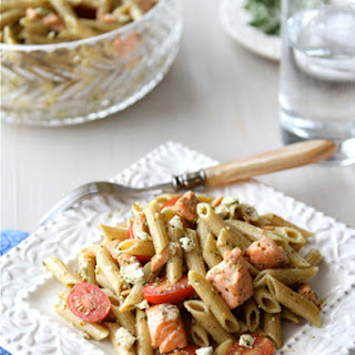 Whole Wheat Pasta Salad with Salmon, Tomatoes & Herb Dressing.