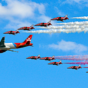 Red Arrows & AirMalta Airbus by Twanny Chicharito Falzon - Transportation Airplanes ( , vertical lines, pwc )