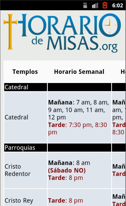 Horario de Misas- screenshot