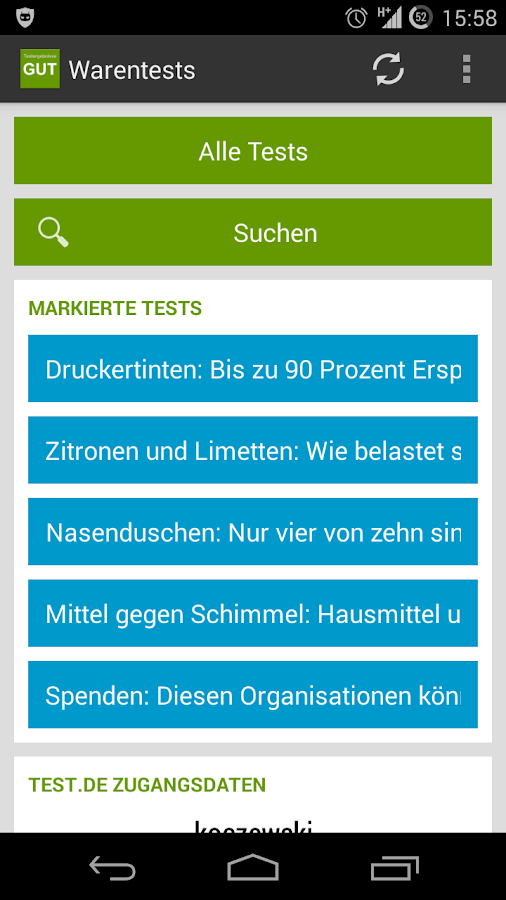 Warentests- screenshot
