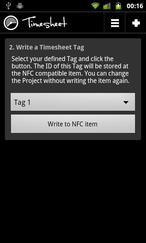 Timesheet NFC Add-On - screenshot