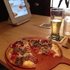 GF pizza and cider (on draft!) very yummy!!!!!
