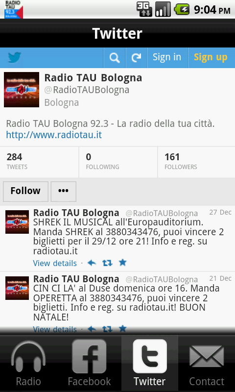 Radio TAU 92.3 Bologna - screenshot
