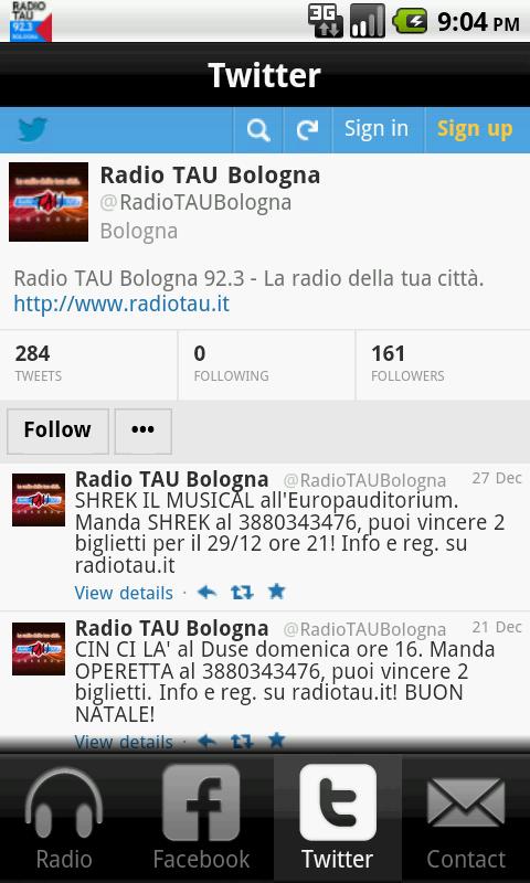 Radio TAU 92.3 Bologna - screenshot