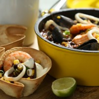 Seafood Chili in Tortilla Cups
