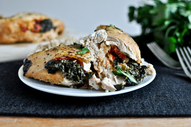 Crockpot Stuffed Chicken Breasts with Spinach, Roasted Red Pepper, Parmesan + Goat Cheese Recipe