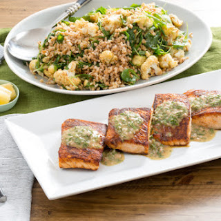 Pan-Roasted Salmon with Roasted Cauliflower & Farro Salad