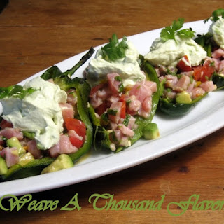 Tuna Ceviche Chile Rellenos with Avocado Crema.